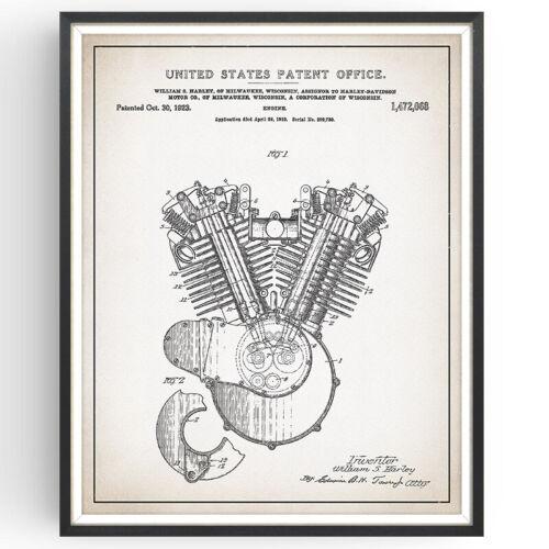 Harley Davidson Engine Patent Print Blueprint Decor Vintage Poster Wall Gift
