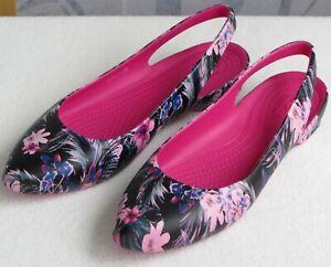 10-Crocs-Iconic-Comfort-Women-Black-Pink-Slip-On-Slingback-Ballet-Flat-Sandal