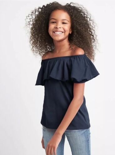 GapKids Mix-Fabric Off Shoulder Top • Girls Size XS • Blue Galaxy