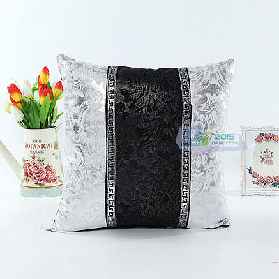 Car Black and White Shining Sequins Leather Throw Pillow Case Cushion Cover