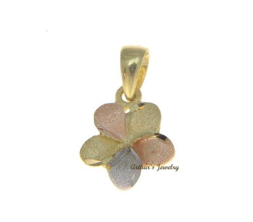 9MM 14K Massiv Rosa Weiß Gelb Dreifarbig Gold Hawaii Frangipani Blume Anhänger