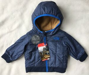 THE NORTH FACE Baby Boys Yukon Reversible Jacket Hoodie Blue NWT $80 3-6 MONTHS