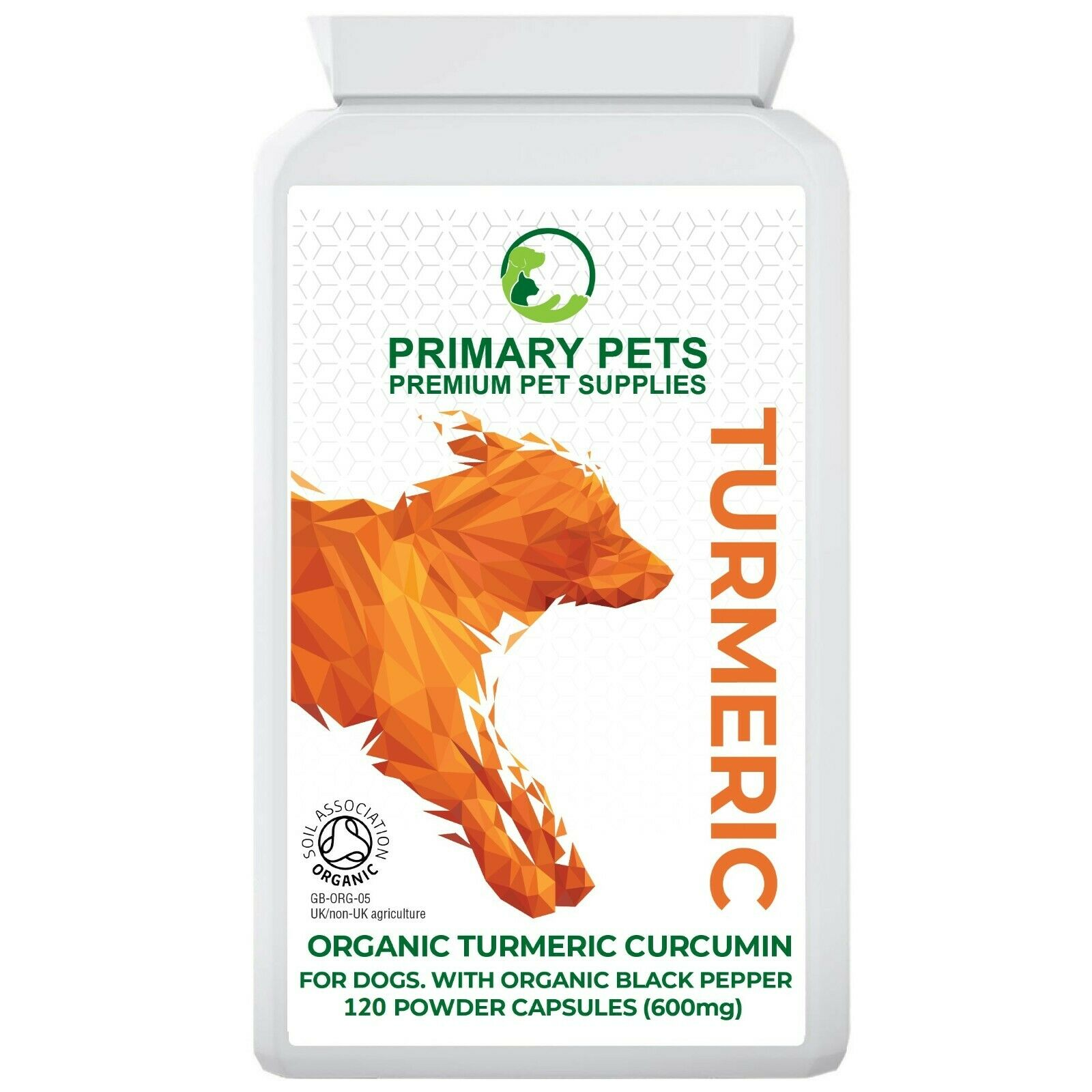 Golden paste for dogs, 120 Organic Turmeric Capsules, Digestion & Joint Health.