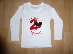 8def40ad1 Image is loading Personalised-Embroidered -Long-Sleeves-Twoodle-Mickey-2nd-Second-