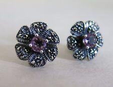 Sterling Silver Amethyst Marcasite Earrings Pierced 3.5g [2524]