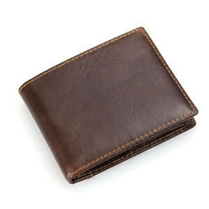 100-genuine-Cowhide-Leather-Purse-Carte-RFID-Pocket-ID-Portefeuille-Excellent-vache-Lea
