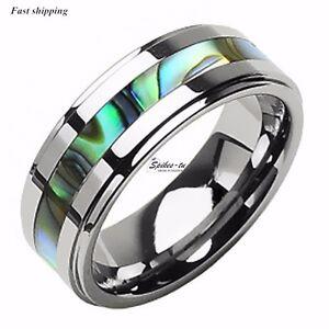 8Mm-Tungsten-Stunning-jade-amp-Abalone-Stripe-Inlaid-Wedding-Band-Ring-Mens-jewelry