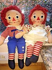 Vintage Knickerbocker Raggedy Ann Doll w/ Red Poppy Dress and Andy Doll