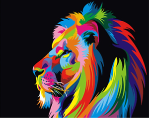 Lion Colorful Paint By Numbers Kits DIY Number Hand painted Canvas Painting