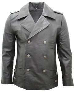 gran descuento ea816 21ecf Detalles de Nuevo Clásico Hombre Alemán Naval Militar Guisante Abrigo Negro