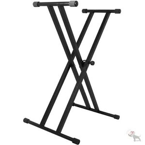 On-Stage Stands KS7191 Classic Double-X Black Keyboard Electric Piano Stand