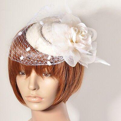 Ivory Women Handmade Fascinator Flower Feather Hat Veil Hair Clip Wedding Bridal