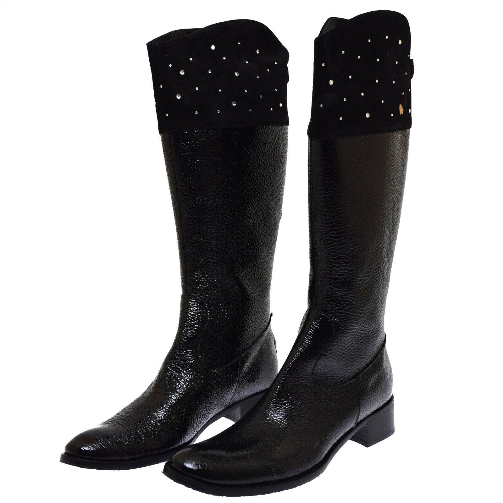 Fiorangelo Black Patent Leather Suede Rhinestone Women's Boots 40 US 10 NEW