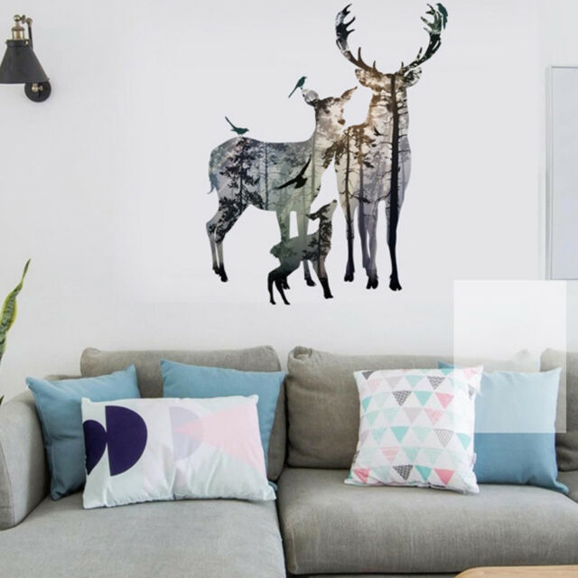 removable deer forest wall stickers decals art mural vinyl home