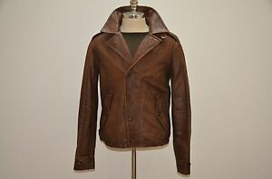 Leather Polo Details Jacket Brown M41 Ralph Lauren Biker About Distressed 5AL4Rj