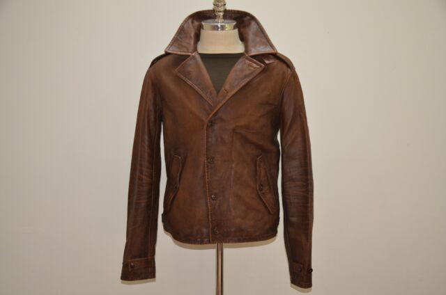 b99734e279e25 Polo Ralph Lauren M41 Distressed Brown Leather Biker Jacket Regular ...