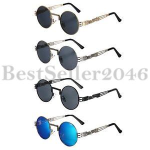 Steampunk-Runde-Sonnenbrille-Kreis-Metall-Frame-Brille-Herren-Damen-Hip-Hop