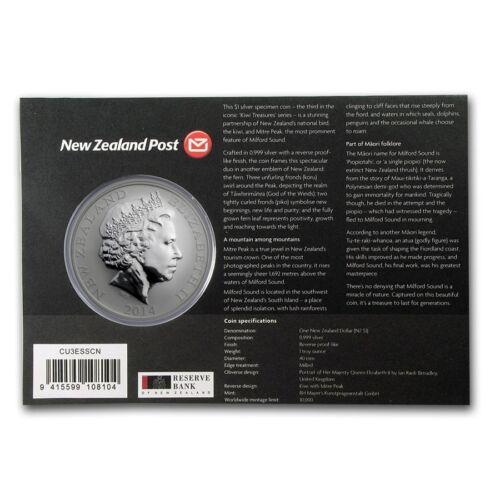 Silver $1 Proof Coin 2014 1 OZ   Kiwi  Treasures!! New Zealand Kiwi