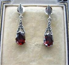Deco Inspired Rich Red Garnet CZ, Marcasite & Silver Earrings