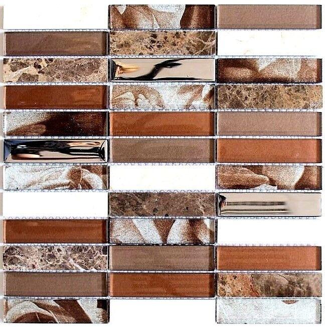 Glasmosaik Natursteinmosaik mix braun Fliesenspiegel Küche Art  87-78X  10Matten