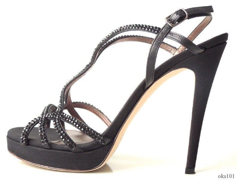 495 Negro Arcilla Martin Enjoyado con con con Tiras Tacones Zapatos Italia 38.5 US 8.5 - increíble  descuentos y mas