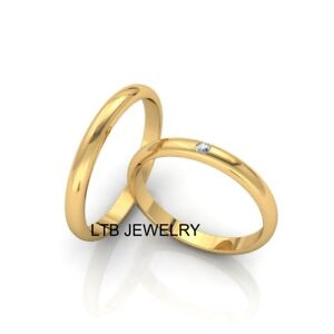His And Hers Matching Wedding Bands Cheap.Details About 18k Solid Yellow Gold His Hers Wedding Ring Set Diamond Matching Wedding Bands