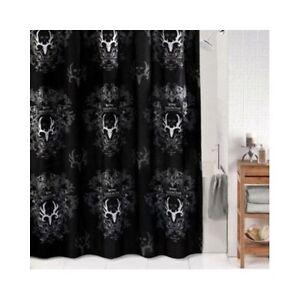 Image Is Loading Bone Collector Shower Curtain Black Grey Bathroom Antler