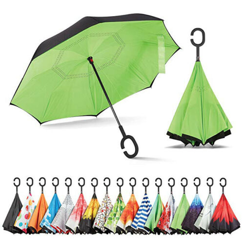 Reflective Inverted C-Handle Umbrella Windproof Folding Upside Down Safety RS9