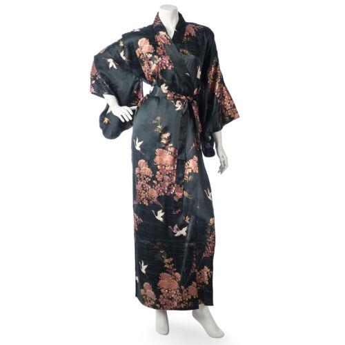 Silk Crane and Chrysanthemum Long Black Yukata XL