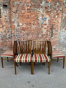 SET OF SIX CONTINENTAL RAIL BACK DINING CHAIRS WITH STRIPED FABRIC - 6 CHAIRS