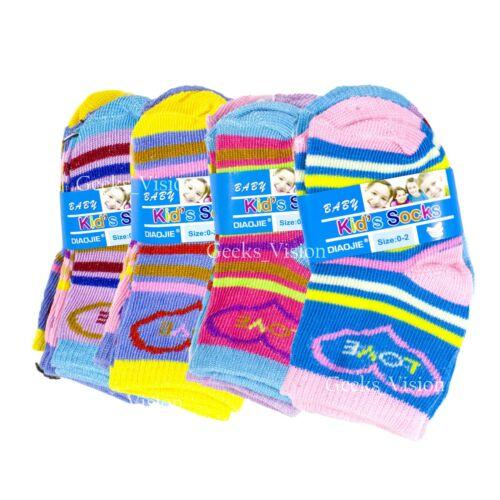 12 Pairs Girls Boys NewBorn Baby Kids Infant Toddler Crew Soft Socks 0-24 Month