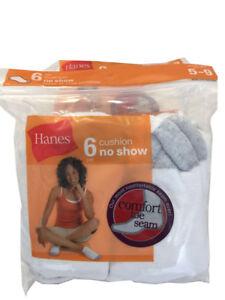 Hanes 6 paris cushion noshow white socks fit shoe size 5-9 NEW
