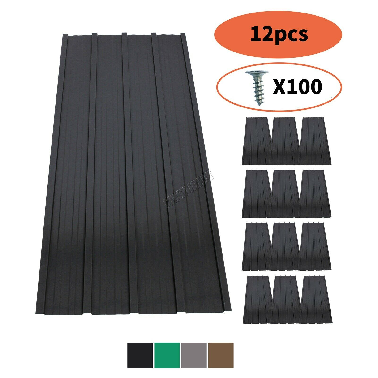 BIRCHTREE 12X Roof Sheets Corrugated Garage Carport Shed Metal Roofing Panels
