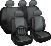 Faux Leather Seat Covers For Ford F150 Gray W/steering Wheel/belt Pad/head Rests on Sale