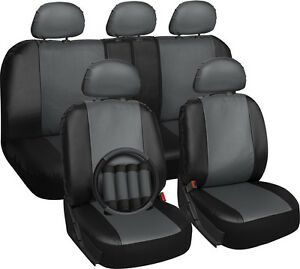 Faux-Leather-Car-Seat-Covers-Gray-Black-17pc-w-Steering-Wheel-Belt-Pad-Head-Rest