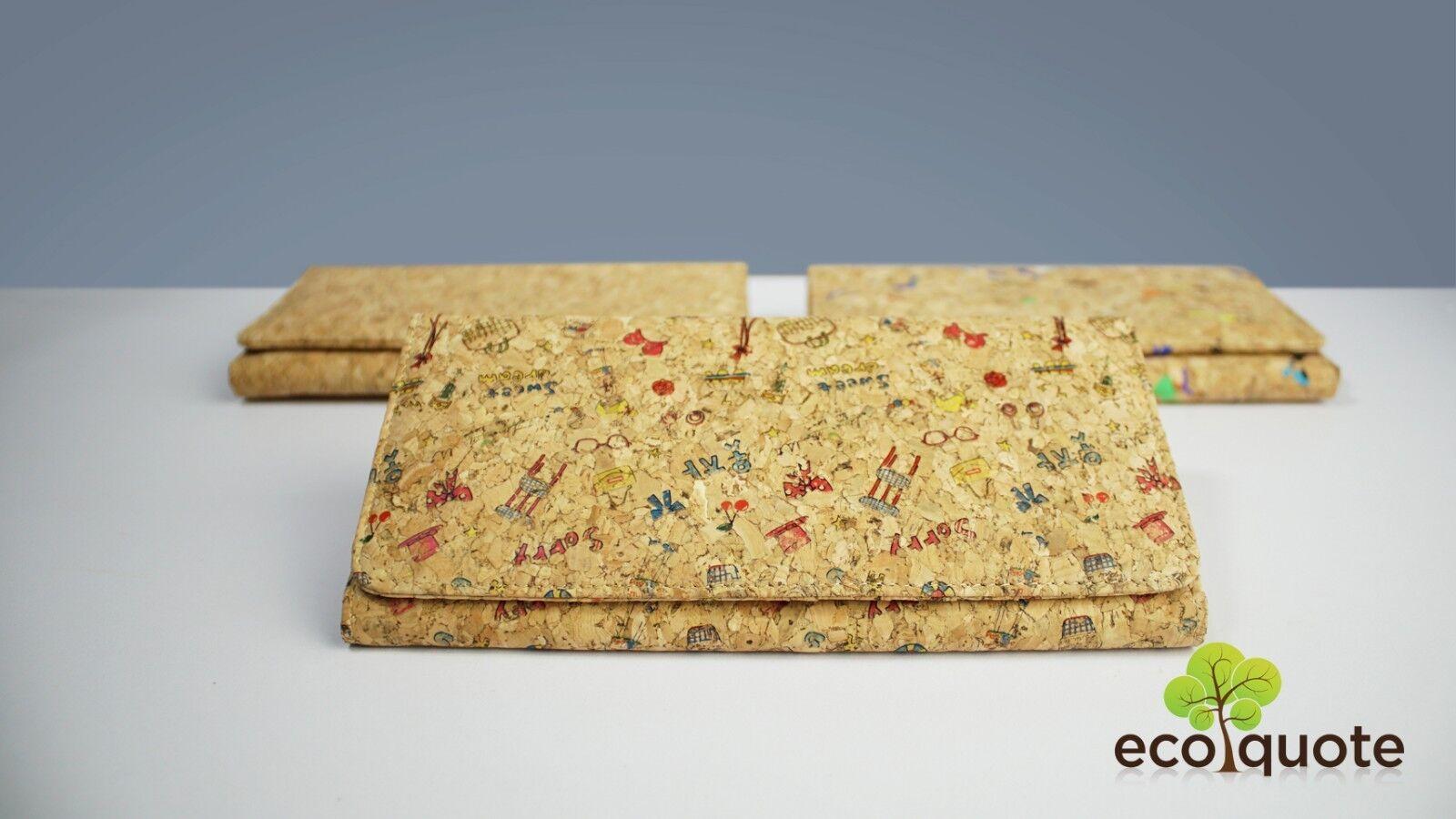 Cork Long Wallet 2 Zips Sq. Design Button Handmade Eco-Friendly Materials Vegan