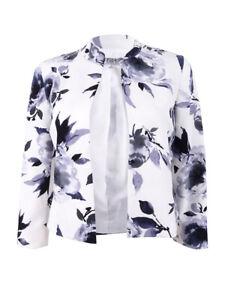 Kasper-Women-039-s-Floral-Print-Flyaway-Jacket