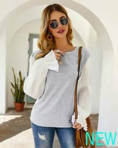 Long-Sleeve-Blouse-O-Neck-Top-Shirt-Loose-Womens-Pullover-Ladies-Casual-T-Shirt