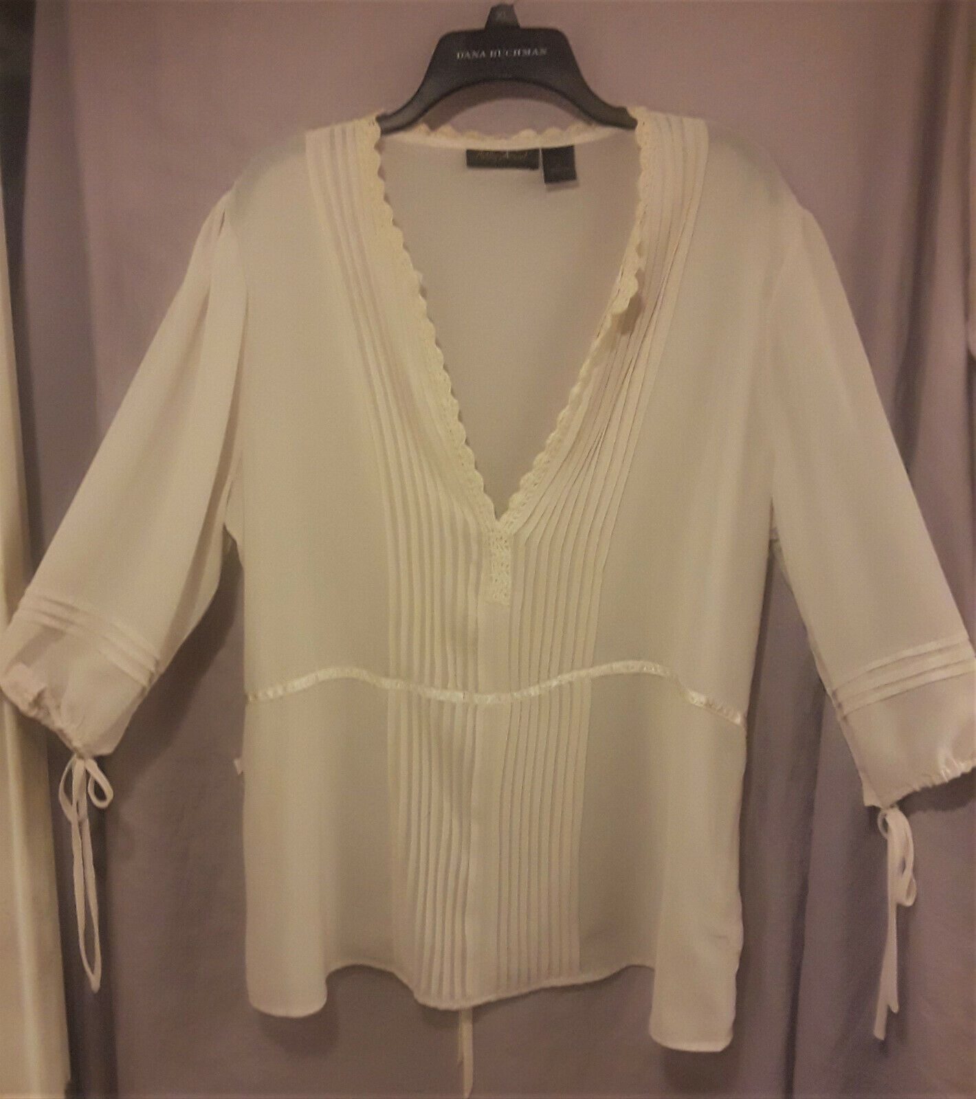 Ashley Stewart Ivory 100% silk Peasant Blouse Womens plus size 16 NWOT