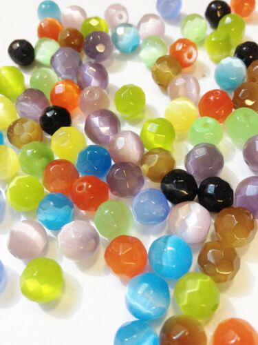 Jewellery Making, 40 x 8mm Mixed Coloured Faceted Round Glass Cats Eye Beads