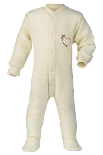 100/% Organic Wool Terry Baby Footed Romper Overall Pajama with Long Sleeves