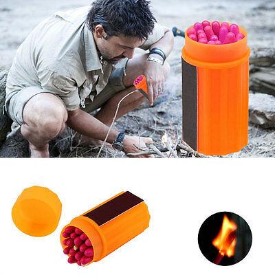 Outdoor Stormproof Windproof Waterproof Matches Kit Orange Case 20 Matches AL