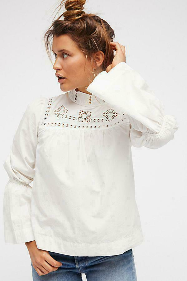FREE PEOPLE Top S ANOTHER ETERNITY Blouse Poplin Baumwolle Button Romantic  128 NWT