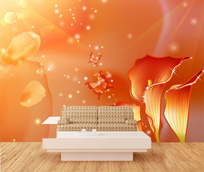 3D Flashes butterfly flower Wall Paper Print Decal Wall Deco Indoor wall Mural