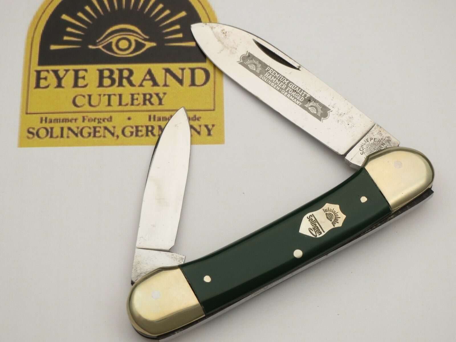 Vintage EYE BRAND Solingen Scarce Canoe Pocket Knife Green Handles Unused