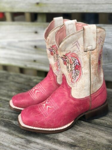 Roper Kids Distressed Pink /& Ivory Unicorn Square Toe Western Boots 7022-1530