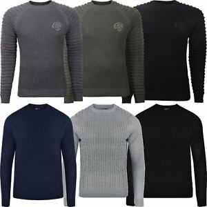 727b8267283a Mens Designer Long Sleeve Crew Neck Sweater Jumper Sweatshirt Cable ...