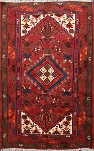 Traditional-Geometric-Hamedan-Hand-knotted-Area-Rug-Wool-Oriental-Carpet-4x5-ft