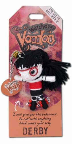 """3/"""" Tall DERBY GIRL Watchover VOODOO DOLL Keychain You Got To Roll With It"""