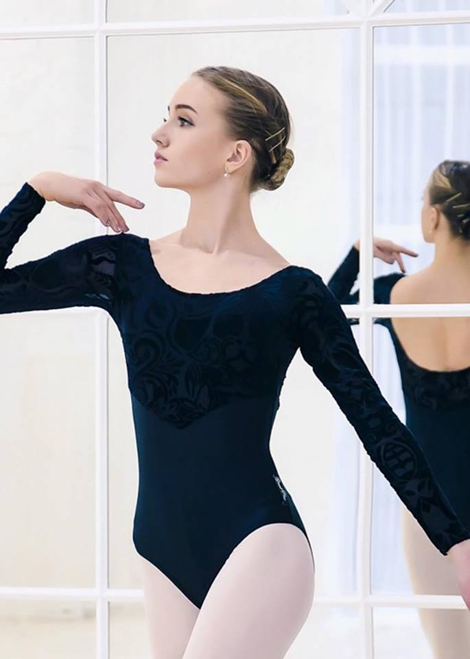 Trikot NEU schwarz schwarz schwarz samt Gr. XS   Body Oberteil Training Tanzen Ballett Langarm f93675